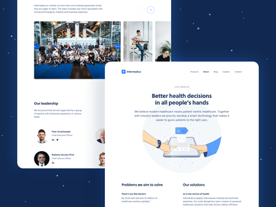 Infermedica.com/About web design uxui brand company people team about us page about us branding about product product page healthcare health ai website landing page illustration