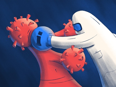 Blog post - COVID-19 Symptom Checker information product design blog post marketing ipad covid-19 virus fight boxing affinity designer procreate blog product page healthcare health ai artificial intelligence illustration landing page