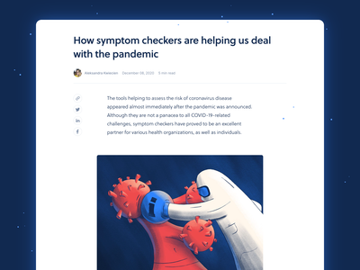 Blog post - COVID-19 Symptom Checker fight boxing information procreate affinity designer virus covid-19 blog product product page healthcare artificial intelligence health website ai illustration landing page