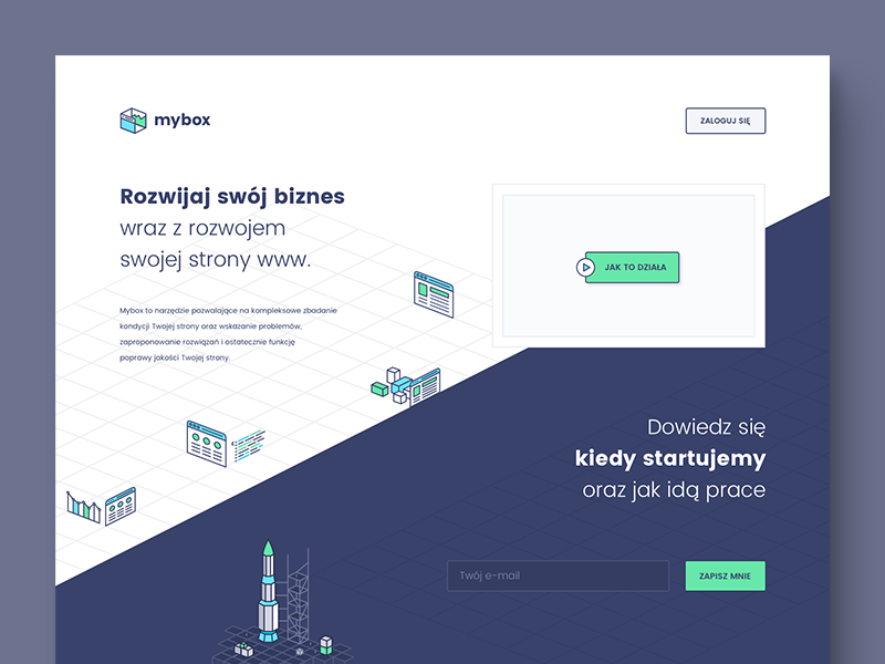 mybox - pre-release landing page homepage release splash box website sketch vector illustration product signup startup landing page