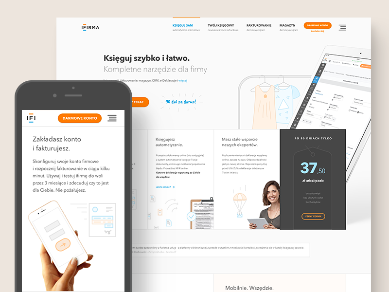 ifirma - online bookkeeping system presentation features pricing illustration startup mobile responsive website saas product page about product