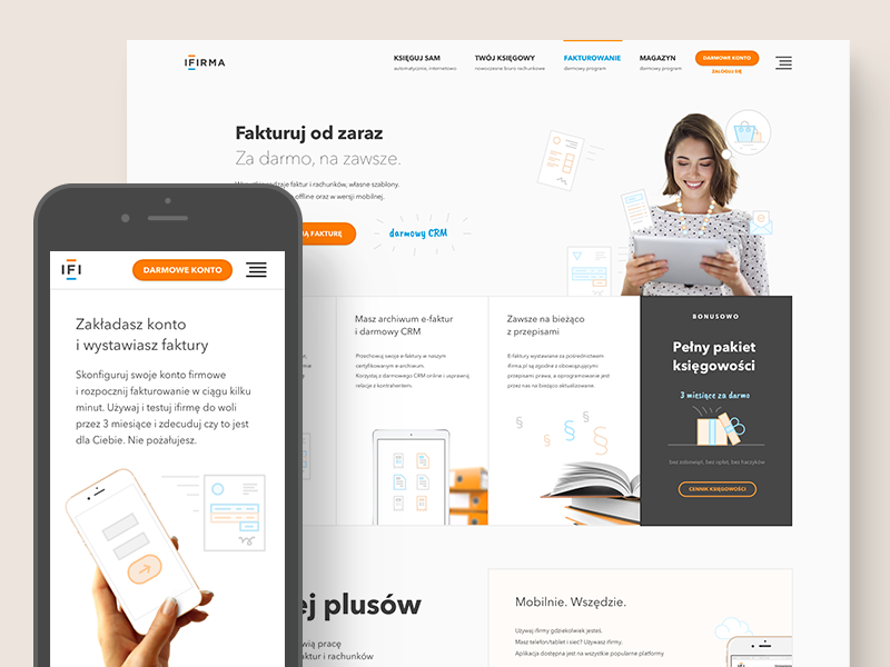 ifirma.pl - invoicing module bookkeeping app saas pricing features mobile product page product about accounting website invoice