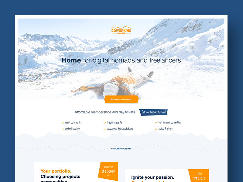 Bansko - coworking space about nomad freelancer winter snow skiing mountains coworking landing page homepage website