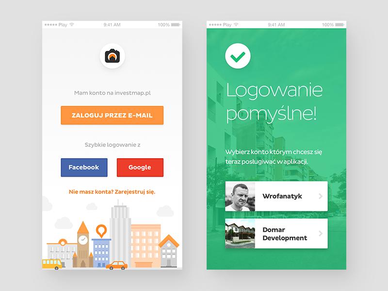 investmapp - login & profile selection iphone user profile mobile app success login illustration property app ios mobile