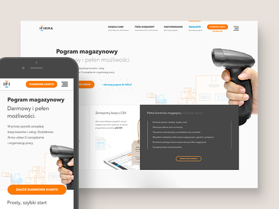 ifirma.pl - warehouse management module landing page accounting mobile responsive website homepage features tour about product product page warehouse