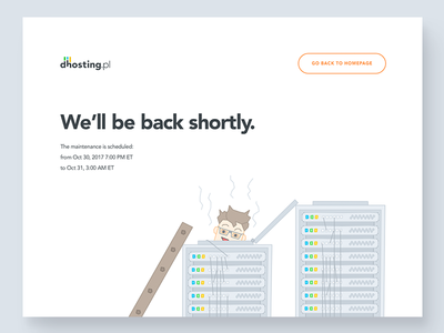 dhosting.pl - server under maintenance hardware illustration notification error splash screen under construction service maintenance hosting server