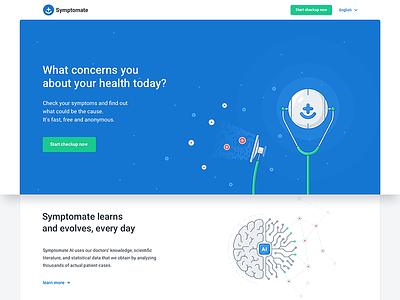 symptomate.com - product page website robot illustration mobile bot app chatbot health productpage landingpage artificialintelligence ai