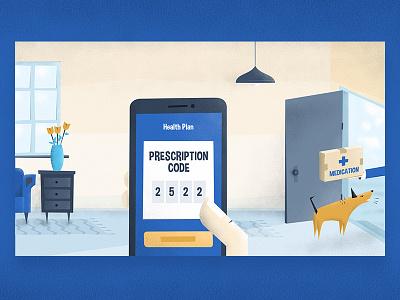 Medication Delivery Illustration - intelligent health insurance hand graphic insurance app dog room smartphone medication healthcare health blog illustration