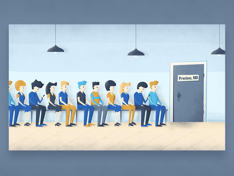 Queue - Illustration hallway lamp people physician line queue illustration insurance healthcare health md doctor
