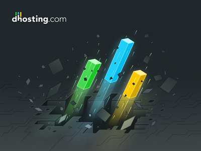 dhosting.com - promotional illustration graphic break speed rocket digital destroy explosion dynamic key art 3d isometric illustration