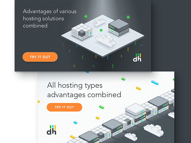 dhosting promo graphics landing page graphic cloud server page landing digital hosting key art 3d isometric illustration