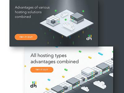 dhosting promo graphics landing page graphic cloud server page landing digital hosting key art 3d isometric illustration