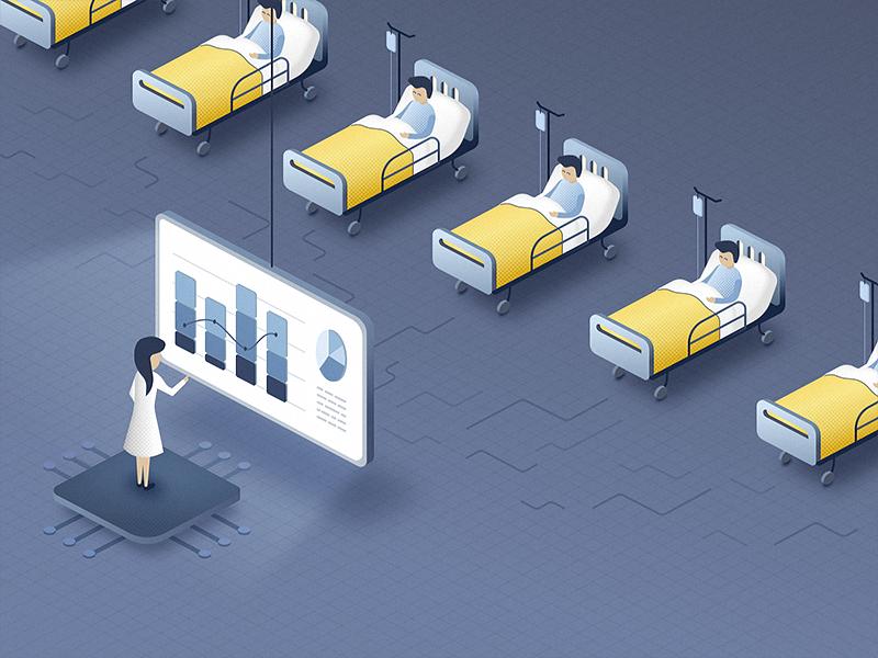 AI - Nurses Little Helper - blog post illustration patient health hospital nurse insurance doctor artificial intelligence ai chatbot blog illustration healthcare