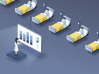 AI - Nurses Little Helper - blog post illustration patient health hospital nurse insurance doctor artificial intelligence ai chatbot blog illustration healthcare