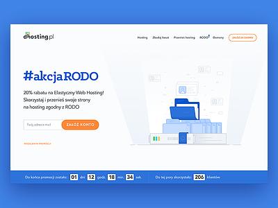 GDPR, RODO - Landing Page design - dhosting.pl law folder hosting homepage product page illustration data server privacy landing page rodo gdpr
