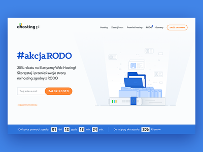 GDPR, RODO - Landing Page design - dhosting.pl law folder hosting homepage product page illustration data server privacy landing page rodo gdpr