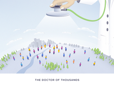 The Doctor Of Thousands - blog post Illustration sketch world stethoscope population people blog artificial intelligence ai illustration doctor healthcare health