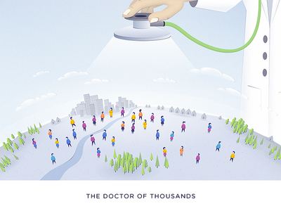The Doctor Of Thousands - blog post Illustration sketch world stethoscope population people blog artificial intelligence ai illustration doctor healthcare health