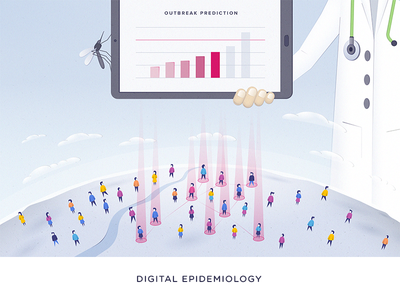Digital Epidemiology - Outbreak Prediction illustration stethoscope doctor mosquito people illustration tablet digital artificial intelligence ai healthcare health epidemic
