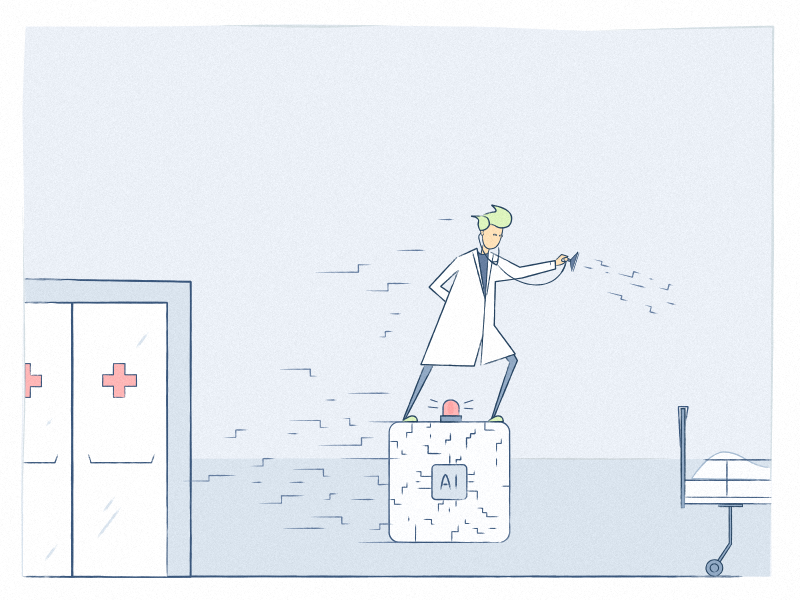 Artificial Intelligence + physician - Power duo emergency patient health hospital doctor artificial intelligence ai chatbot blog illustration healthcare