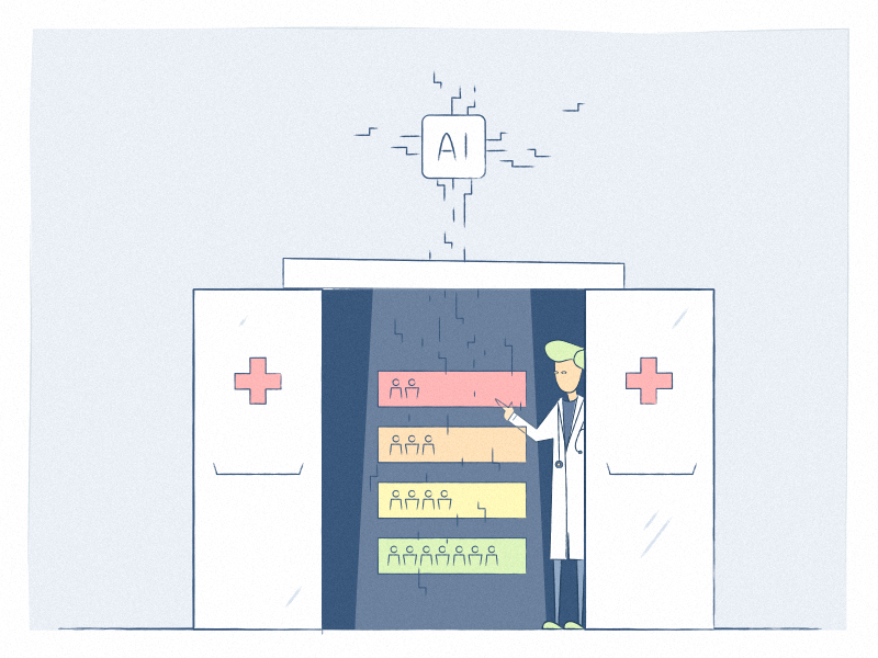 Artificial Intelligence in the Emergency Room emergency patient health hospital doctor artificial intelligence ai chatbot blog illustration healthcare