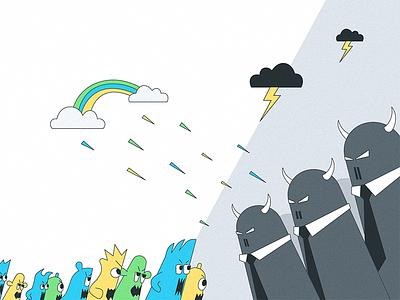 Front of change cloud monsters bad cartoon illustration character versus weather war fight change hosting