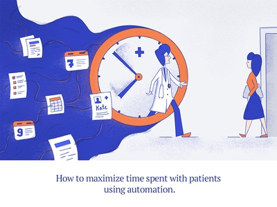 Blog post illustration - time spent with patient. time time management health app calendar doctor clock patient blog health care illustration artificial intelligence ai health