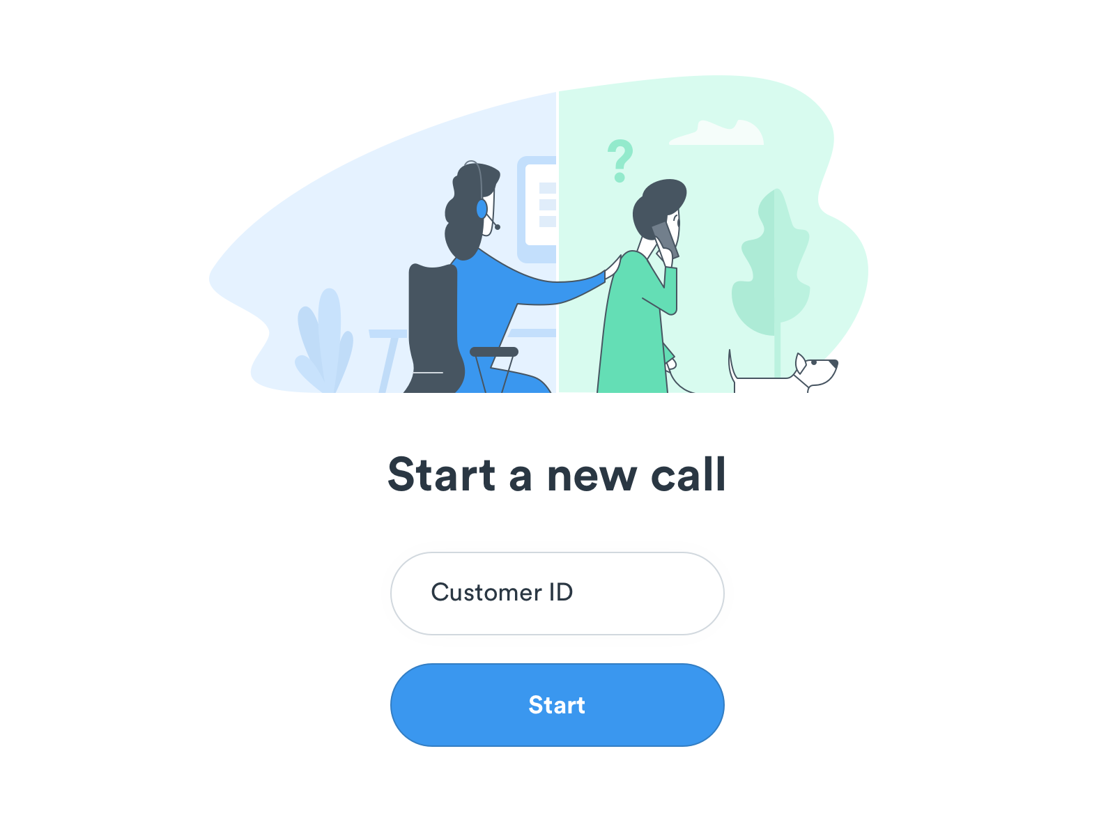 Call center platform - initial screen illustration customer insurance help call call center customer care support illustration app helpdesk welcome page character start login register