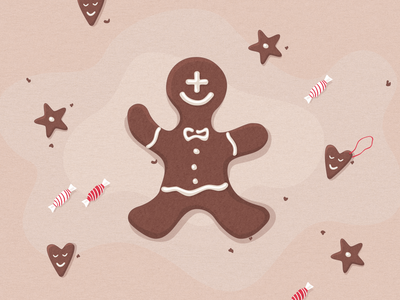 Gingerbread Man + Symptomate card xmas card holidays happy holidays happy christmas candy star smile mate honey-cake cake illustration xmas christmas gingerbread