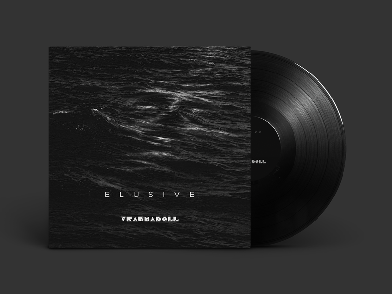 Elusive - album cover black sea waves vinyl album cover art album cover design water dark techno electro band music alternative design identity branding print album cover noise