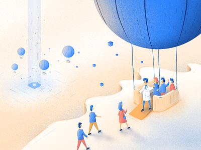Blog post illustration landing page people marketing medicine blog post employees company team hot air balloon affinity affinitydesigner ai illustration