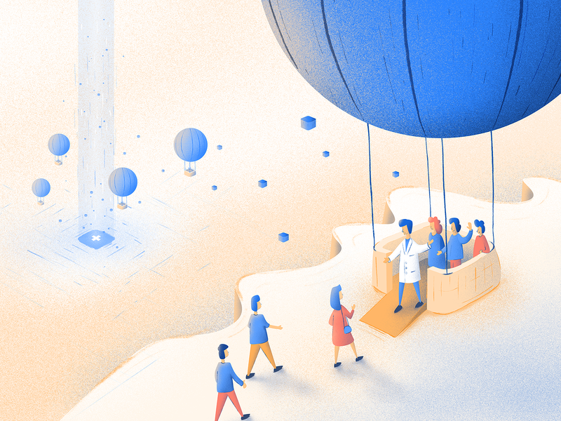 Blog post illustration landing page people marketing medicine blog post employees company team hot air balloon affinity affinitydesigner ai illustration
