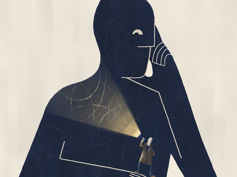 Lost in uncertainty - blog post illustration analysis blog illustration blog algorithm data ehealth undiagnosed symptom checker machine learning affinity designer medical disease investigation detective health healthcare artificial intelligence ai landing page illustration