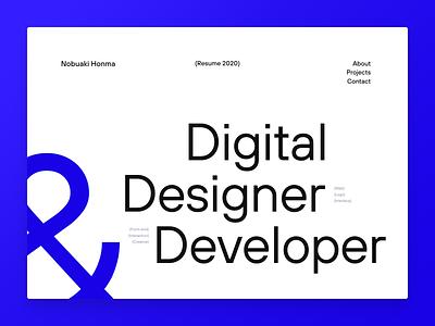 Resume 2020 blue white animation ui website webdesign