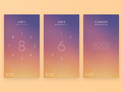 Eight Alarm iphone purple orange concept interface mobile ui app