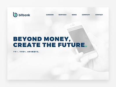 bitbank, Inc. ui navy white circle card material clean webdesign website