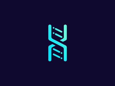 DNA Data ― Logo line simple flat green gradient. blue data dna icon logo