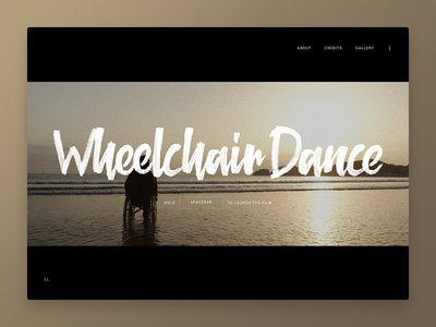 Wheelchair Dance brush animation website webdesign typography sound video dark black ui