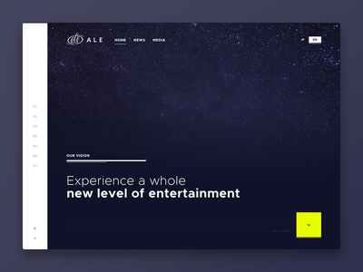 ALE yellow purple website webdesign animation ui svg space