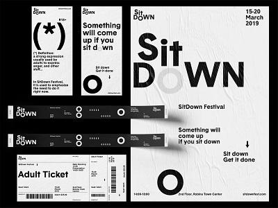 SitDown Festival Branding typography layout graphic greyscalegorilla beeple festival branding logo poster design