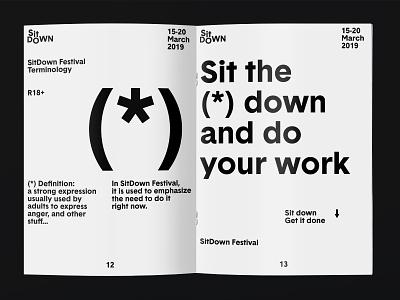 SitDown Festival Branding Part 2 typography poster bee logo beeple layout greyscalegorilla graphic festival design branding design branding