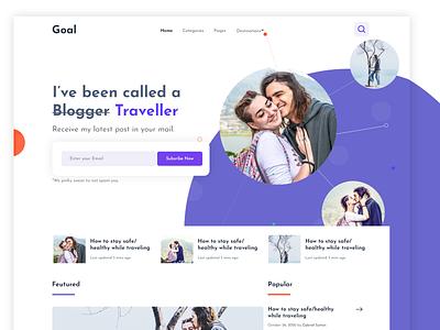 Blog Landing page traveller blogger ui ux web blog design design