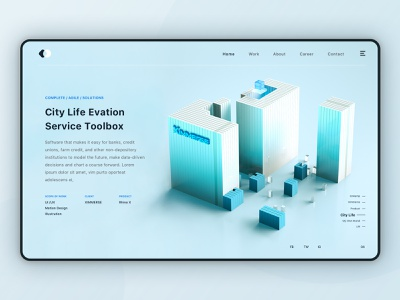 City Life ui web design tech web logo branding banner ad banner illustration