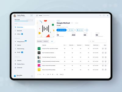Soundon Hosting Dashboard Sidebar Animation design play list navigation bar navbar nav sidebar side ui dailyui podcasting dashboad podcast