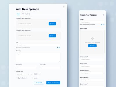 Soundon Hosting Dashboard Form Design input forms podcast dashboard form