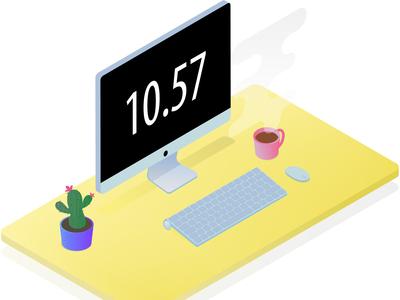 Working area with macbook. Isometry