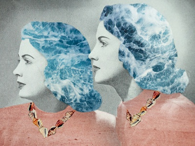 Beach Bodies women seashells seashell beach 60s 50s collage vintage retro graphic design design