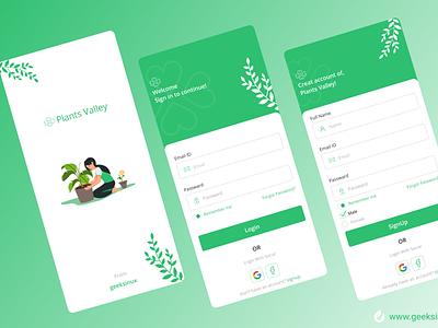 Plants Valley signup screen splashscreen ux muhammad nawaz rizvi figmadesign illustrations illustration design uiux plants app agriculture app geeksinux