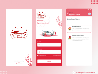 Car service App geeksinux interaction design mobile app designing web designing graphicdesign logo designs uiux design ui design uiux taxi app car app services app