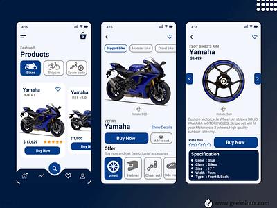 Yamaha Bike Selling App geeksinux muhammad nawaz rizvi design uiux design branding yamaha bikes selling app ui kit